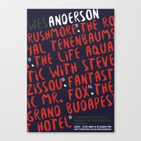 wes anderson Canvas Prints featuring Wes Anderson - Rushmore by Laura Mace Design