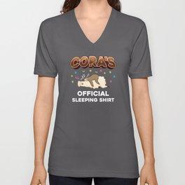 Cora Name Gift Sleeping Shirt Sleep Napping Unisex V-Neck