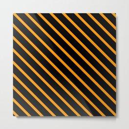 Neon Orange Diagonal Stripes (Black) Metal Print