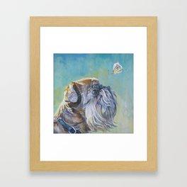 Brussels Griffon dog portrait from an original painting by L.A.Shepard Framed Art Print