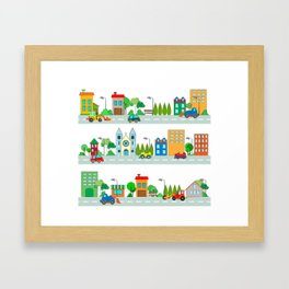 Cars in the town Framed Art Print