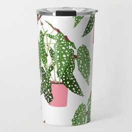 Simple Potted Polka Dot Begonia Plants in White Travel Mug