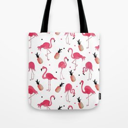 Flamingo and Pineapple Tropical Pattern Tote Bag