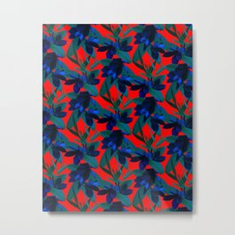 Mixed Paradise Tropicals in Indigo/Red Metal Print