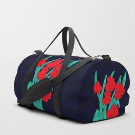 Red flowers gladiolus art nouveau style Duffle Bag