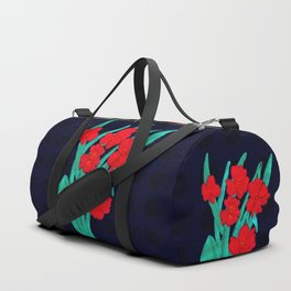 Red flowers gladiolus art nouveau style Duffle Bag