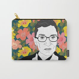 Ruth Bader Ginsburg Floral Carry-All Pouch