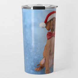 Drawing funny Vizsla pointer in red hat of Santa Claus Travel Mug