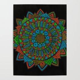 Glow Doodle Mandala Poster
