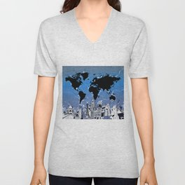 world map city skyline 8 Unisex V-Neck