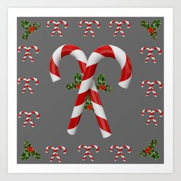 RED-WHITE  CHRISTMAS CANDY CANES HOLLY BERRIES Art Print