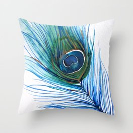 Peacock Feather I Throw Pillow
