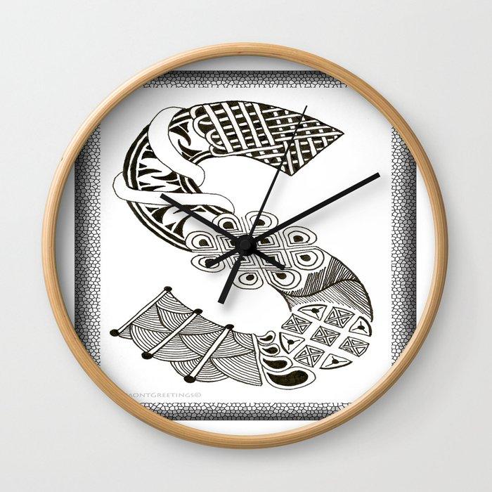 Zentangle S Monogram Alphabet Initials Wall Clock