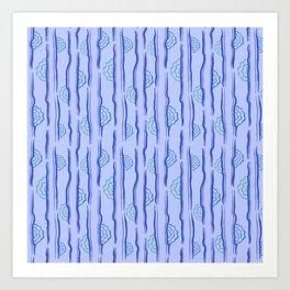 CALISTA VINTAGE, RETRO FLORAL: BLUE MONDAY Art Print