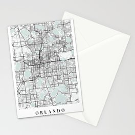 Orlando Florida Blue Water Street Map Stationery Cards
