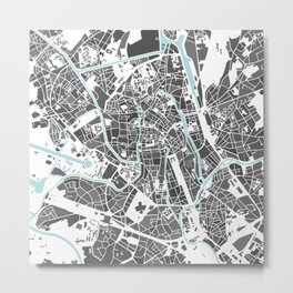 Ghent City Map I Metal Print
