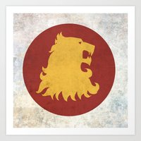 lannister Art Prints featuring Lannister Flag (Game of Thrones) by Goat Robot