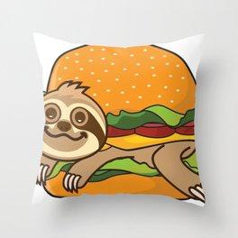 Sloth Burger Throw Pillow