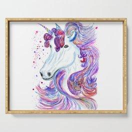Rainbow unicorn portrait Serving Tray