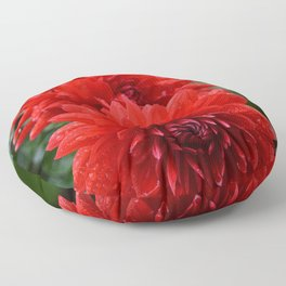Fresh Rain Drops - Red Dahlia Floor Pillow