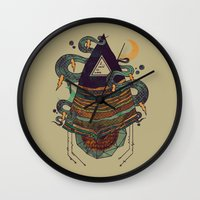 positive Wall Clocks featuring Positive Thinking by Hector Mansilla
