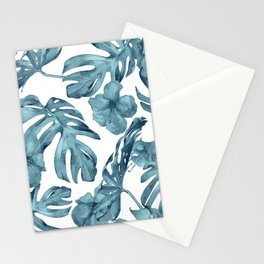 Teal Blue Tropical Palm Leaves Flowers Stationery Cards
