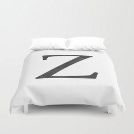 Letter Z Initial Monogram Black and White Duvet Cover