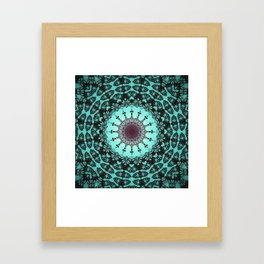 Bright Teal Black Bohemian Mandala Framed Art Print