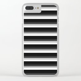 Stripes Black Gray & White Ombre Clear iPhone Case