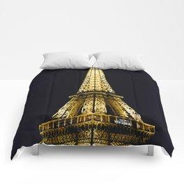 Golden Eiffel Tower Comforters