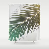 palm tree Shower Curtains featuring palm tree by iulia pironea
