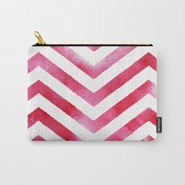 Watercolor Chevro, Red Chevron Striped Watercolor, Home And Accessories Carry-All Pouch