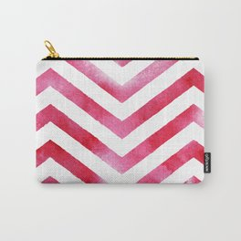 Watercolor Chevro, Red Chevron Striped Watercolor, Home And Accessories Carry-All Pouch