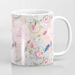 Watercolor Roses and Blush French Script Coffee Mug