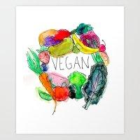 vegan Art Prints featuring Vegan  by BriannaCamp