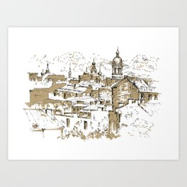Roofs. City sketch. Art Print