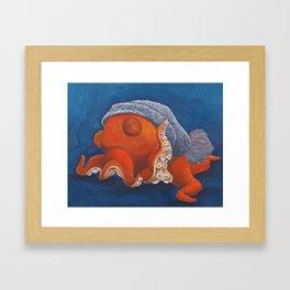 Octopus in a Blue Knit Hat Framed Art Print
