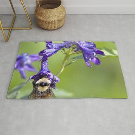 Watercolor Bee, Bumblebee 01, and Blue Subalpine Larkspur, RMNP, Colorado Rug