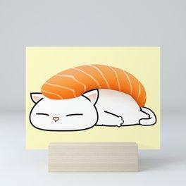 Salmon Sushi Cat Mini Art Print