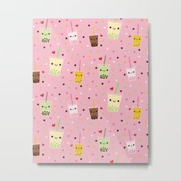 Happy Boba Bubble Tea Pink Metal Print