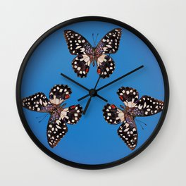 Common Lime Butterfly - Black, Blue & Lilac Wall Clock