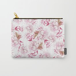 Modern pink blush purple pastel watercolor elegant floral Carry-All Pouch
