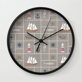 Nautical symbols on sandy background Wall Clock