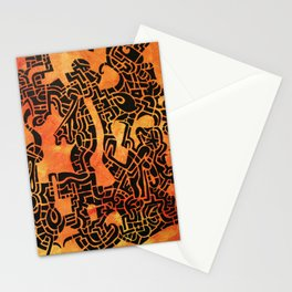 Orange Abstract Print Stationery Cards