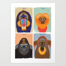 Funky Monkeys Art Print