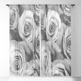 Black and White Roses Sheer Curtain