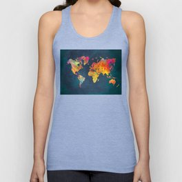 World Map blue Unisex Tank Top