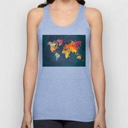 World Map blue #world #map Unisex Tank Top