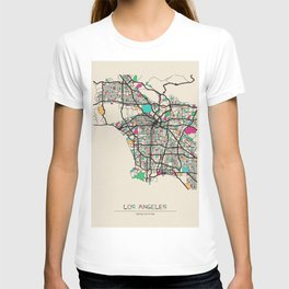 Colorful City Maps: Los Angeles, California T-shirt