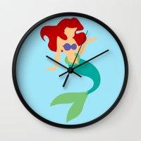 ariel Wall Clocks featuring Ariel by Dewdroplet
